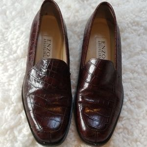 Enzo Angiolini Brown Loafer Alligator Pattern